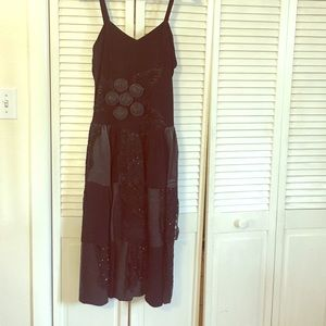 One of a kind Genuine Leather beaded dress