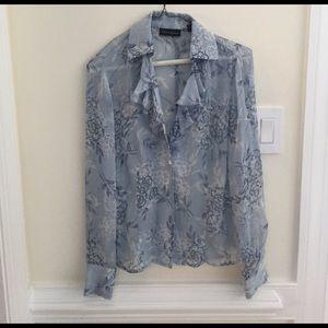 Macy's Tops - Context silk light blue floral ruffle front blouse