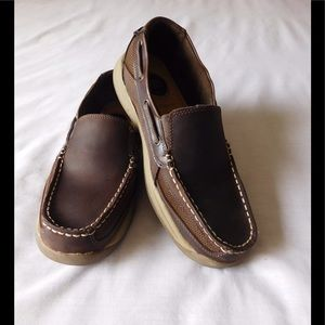croft & barrow Other - Leather/Canvas Brown Slip On Loafers - Boat Shoes