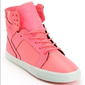 Supra Shoes - Womens Supra Skytop Pink Nylon High Top Shoes