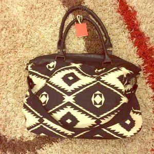 Black & White Tribal Weekend Bag