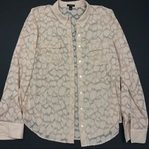 Ann Taylor Tops - Ann Taylor Giraffe Patched Sheer Button Up