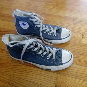 Converse Shoes - Converse High Top Blue Sneakers 6.5