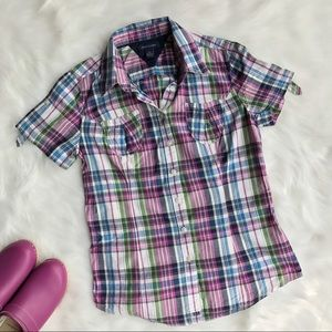Tommy Hilfiger Tops - Tommy Hilfiger Plaid Short-Sleeve Cotton Shirt