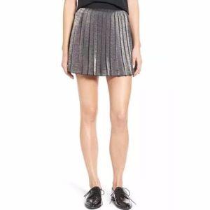 madewell silver pleated skirt