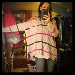 Free People Cozy Oversized Tan/Brown/Pink Sweater!