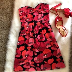 Judith March Dresses & Skirts - Judith March Red Poppies Strapless Dress