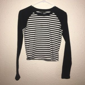 Black and Cream Striped Long Sleeve Crop Top