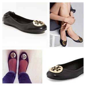 Tory Burch Shoes - 🎀 Tory Burch Reva Black Leather Flats