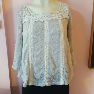 Anthropologie baby blue and lace top