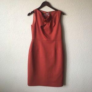 Tahari Dresses & Skirts - Tahari Burnt Orange Flutter Neck Sheath Dress