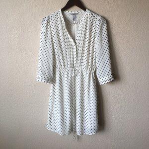 H&M Dresses & Skirts - H&M White Polka-dot Chiffon Pleated Dress