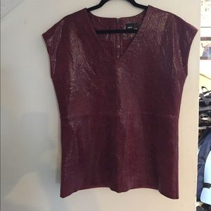 Asos oxblood  leather top