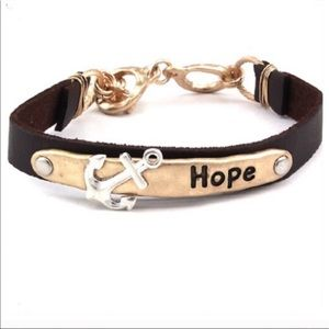 Jewelry - ❤ Hope with Anchor Leather Bracelet