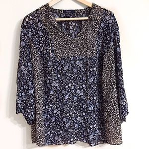 Chaps Tops - Chaps Blouse Size 2X Navy Blue Floral Semi-sheer