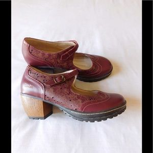 Jambu Shoes - Leather! Glamorous Deep Red Mary Jane W/Straps