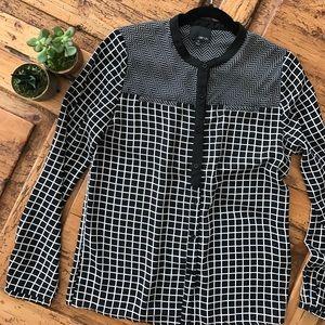 Greylin Tops - GREYLIN Monochrome Grid Lightweight Button Up