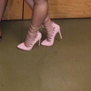 Blush Lace Up Heels
