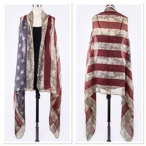 Vintage style American Flag Vest 