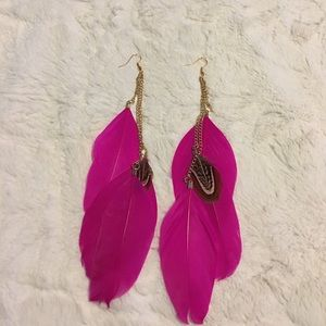 Boho Gypsy Sisters Jewelry - Pink feather earrings