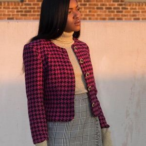 Printed Pink and Black Blazer Jacket