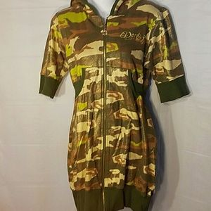 Dereon Dresses & Skirts - Dereon camouflage army print zip up dress sz Lg