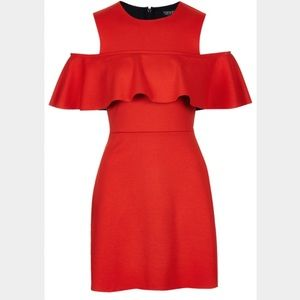 Topshop Dresses & Skirts - Topshop Red Frill Cold Shoulder Mini Dress