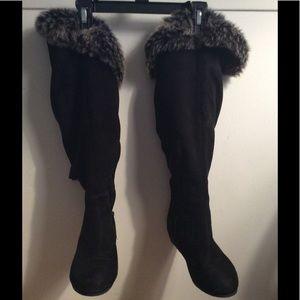 Wild Diva Over Knee Black Boots - Size 7
