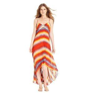 Calvin Klein Dresses & Skirts - Calvin Klein Orange Sunburst High Low Maxi Dress