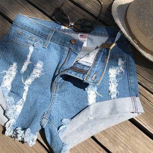 HipFinds Pants - Distressed Denim Shorts