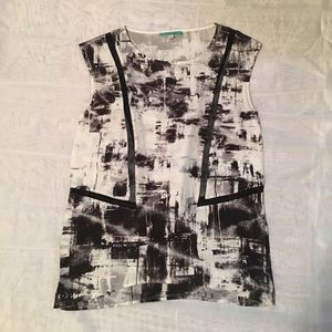 Pleione Black and White Sleeveless Blouse Top XS