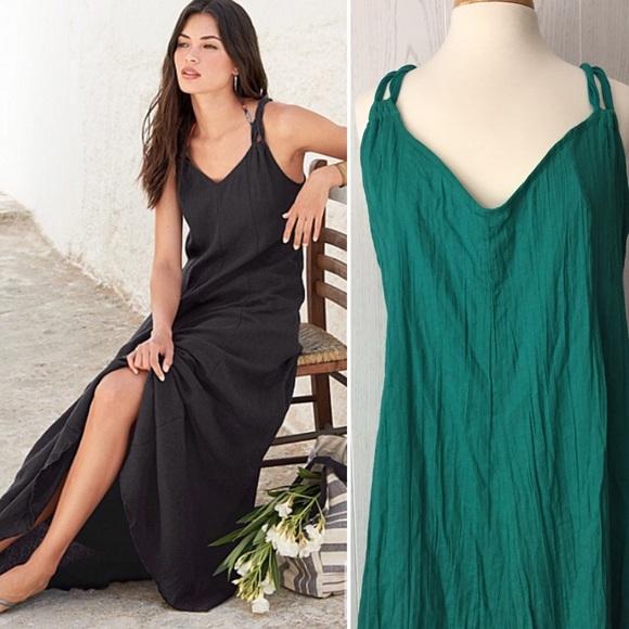 66134deda0d Garnet Hill Dresses & Skirts - Garnet Hill Green Cotton Gauze Long Cover up