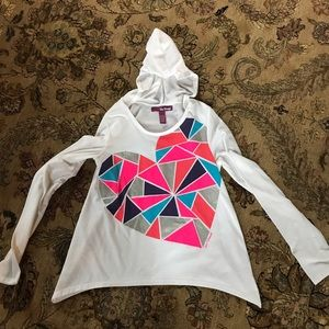 Epic Threads Other - Girls size L hooded long sleeve tee shark bite hem