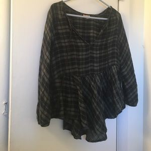 holding horses plaid top