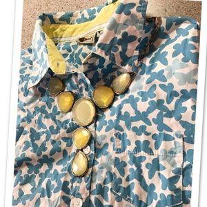 L.L. Bean Tops - 🔵Butterfly Print Blue White L.L. BEAN Button up