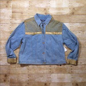Vintage Jackets & Blazers - Vintage 90s nwt denim and gold jacket