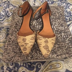 Madewell d'orsay pointed flats snake skin