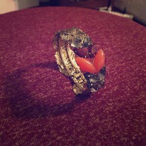 Anthropologie Jewelry - Anthropologie Gold Leaf and Rhinestone Bracelet