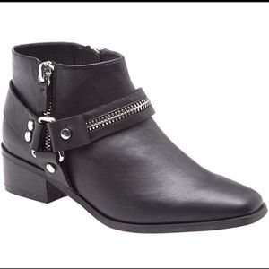 Faux Leather Moto Ankle Booties (Wide Width)