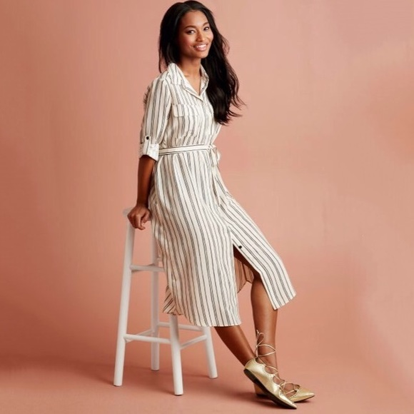 30cc8d25302 WHO WHAT WEAR Target striped shirt dress duster