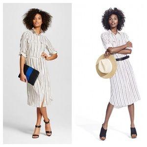 WHOWHATWEAR Target black white striped shirtdress