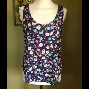 b jewel Tops - Floral tank top with exposed pink zipper back