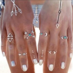 Jewelry - Brand New Set of 6 Bohemian Hippie Silver Rings
