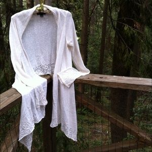 I N C  Sweaters - Shawl style cardigan in of white