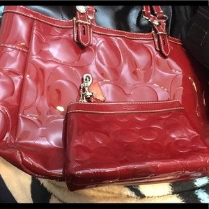 Coach Bag and Matching Wristlet-Gorgeous deep red.