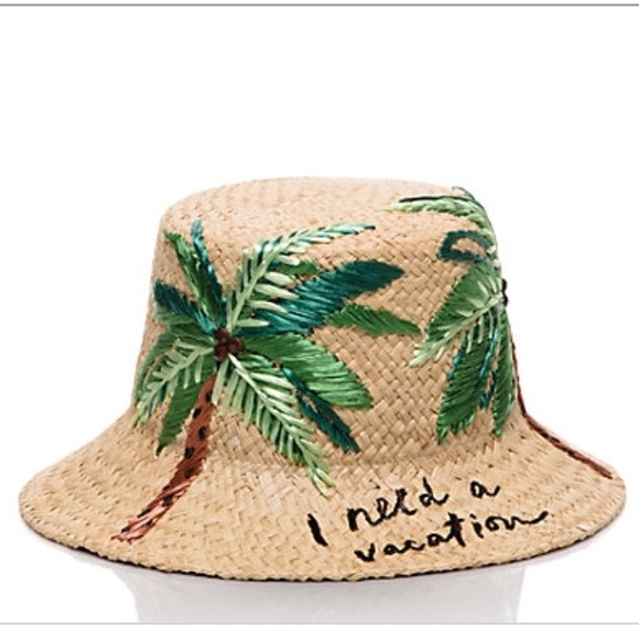 Kate Spade I need a vacation Straw Hat a5b7b73c3a1