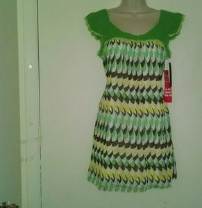Multicolor crochet top tie back dress size medium