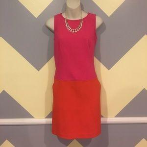 Pink Color Block Shift Dress w/ Pockets - Loft