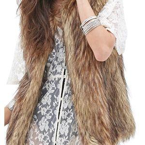 Faux fur vest tan brown