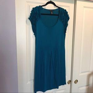 Design History Dresses & Skirts - Design Dark Teal shirt sleeve ruffle dress